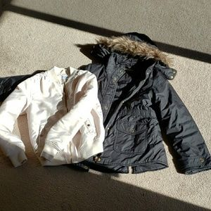 Girls bomber jacket and parka w faux fur hood